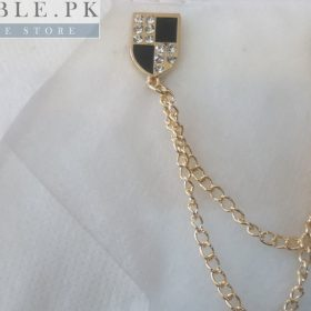 Lapel Pin Golden Chain With Checkered Royal Shield Mark In Pakistan