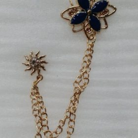Lapel Pin Golden Chain With Blue Clover Flower In Pakistan