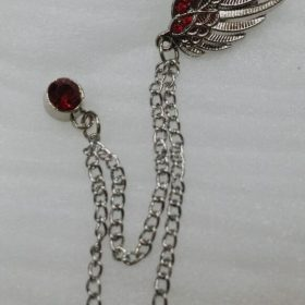 Lapel Pin Silver Chain With Pair Of Angel's Wings & Red Stones
