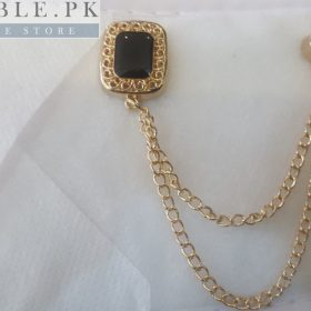 Lapel Pin Golden Chain With Square Black Stone In Pakistan
