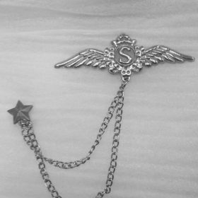 Lapel Pin Silver Chain With Wings Of Glory & Letter S In Pakistan