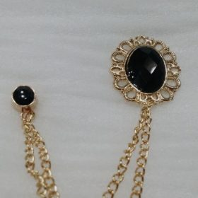 Lapel Pin Golden Chain Big Black Stone In Pakistan