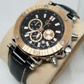 GC Rose Gold Bezel Black Dial Chronograph Mens Watch Price