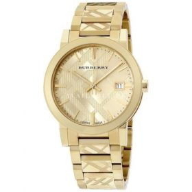 Burberry Unisex Swiss Gold Ion Stainless Steel Bracelet Watch BU9038