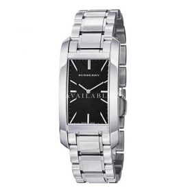 Burberry Engraved Rectangle Ladies Dial Stainless Steel Watch BU9501