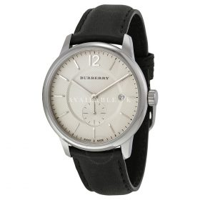 Burberry Classic Round Beige Dial Black Leather Mens Watch BU10000