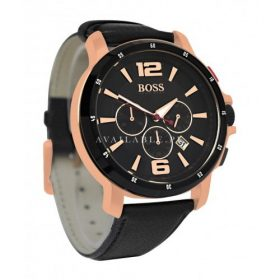 Hugo Boss 1512599 chronograph black dial rose gold tone case black