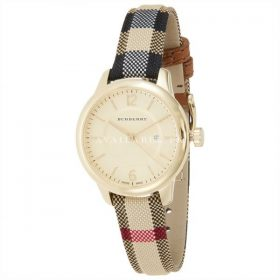 Burberry Gold Dial Stainless Steel Leather Quartz Ladies Watch BU10104