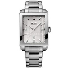 Hugo Boss Men's Silver Rectangular Dial Bracelet Watch- 1512772
