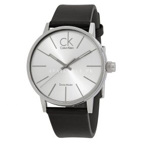 CALVIN KLEIN Black leather strap WATCH K7621192 MINIMAL SILVER