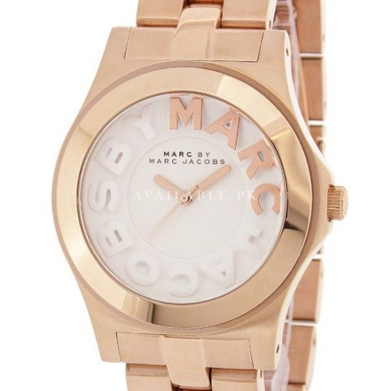 Marc Jacobs Rivera White Dial Rose Gold Ion-Unisex Watch MBM3135