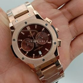 Hublot Classic Chronometer Maroon Dial All RoseGold Mens Watch