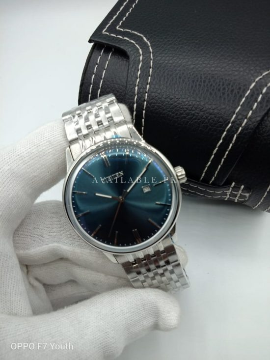 Citizen Aqua Blue Dial Silver Chain Curved Glass Mens Watch Price In Pakistan
