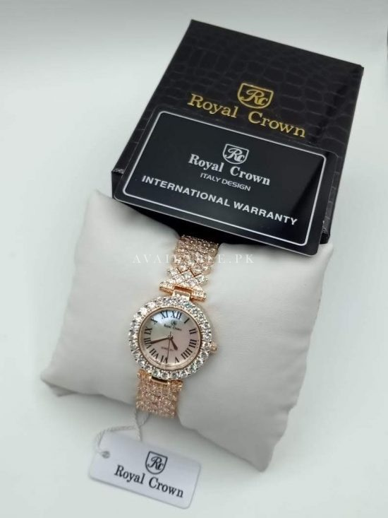 Royal Crown Rose Gold Roman Digit Dial Her Watch Price In Pakistan