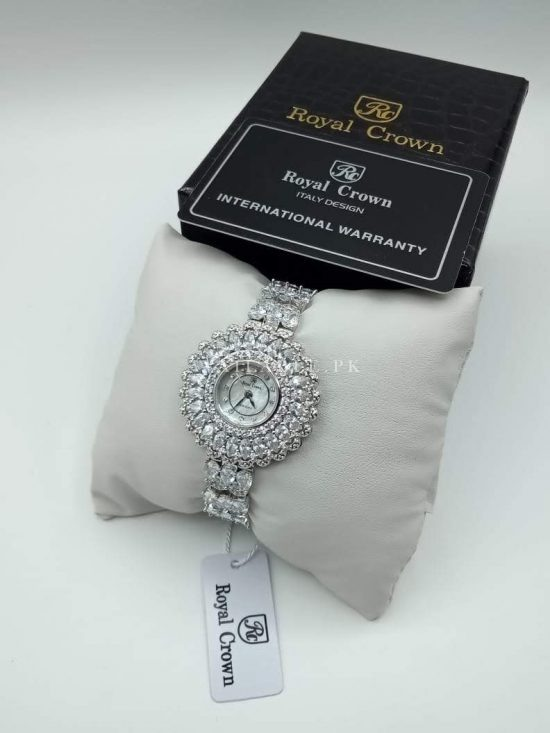Royal Crown Flower Dial White Silver Her Watch Price In Pakistan