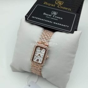 Royal Crown Rose Gold Real Zarkoon Stones Women Watch Price In Pakistan