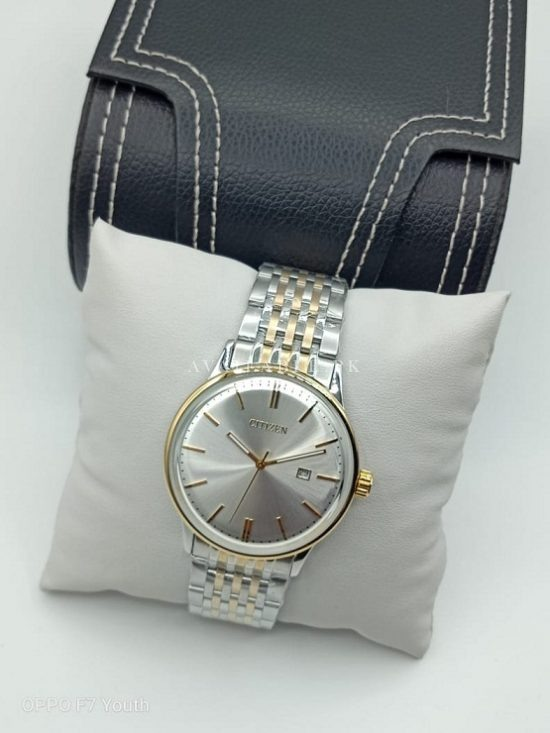 Citizen Silver Dial Two Tone Golden Bezel Curved Glass Mens Watch Price In Pakistan
