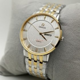Omega Day Date Golden Silver Quartz Mens Watch Price in Pakistan