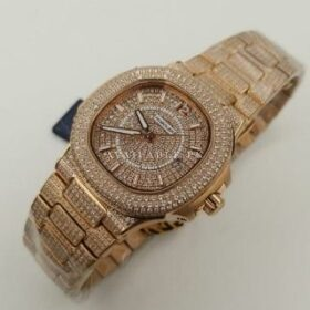 Huboler Rose Gold All Iced Men Watch