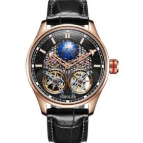 Huboler Luminous Multifunctional Black Copper Tourbillon Mens Watch Price in Pakistan