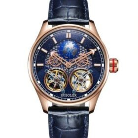 Huboler Luminous Multifunctional Blue RoseGold Tourbillon Mens Watch Price in Pakistan